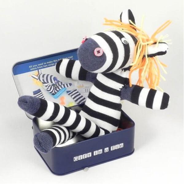 Sock Zebra in a Tin